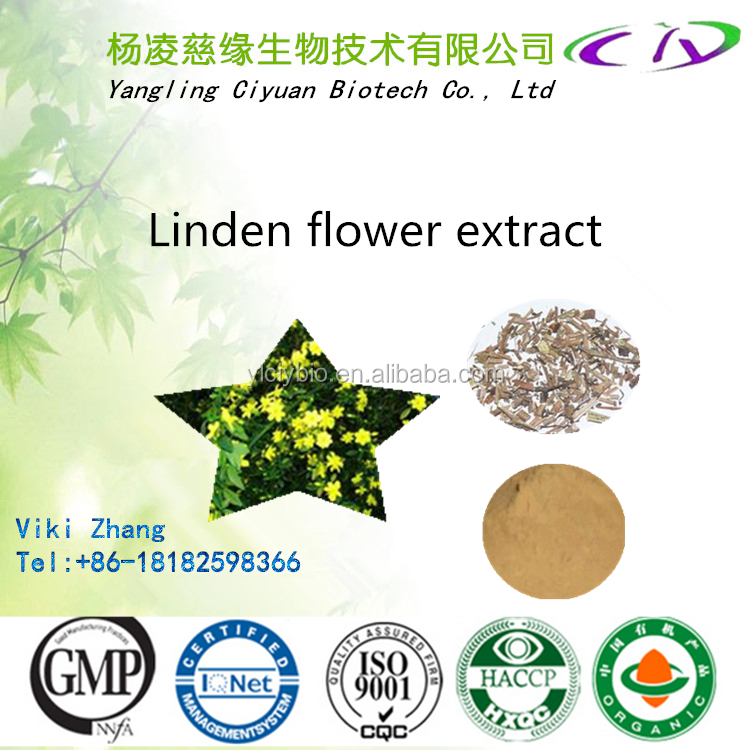 Natural Linden Flower extract/Linden blossom Extract/Tilia cordata flower P.E/Tilia platyphyllos 4:1,10:1,20:1, 5% Flavone