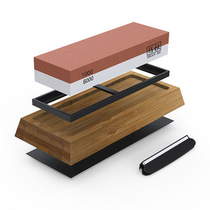 Amazon Hot sale Double Side China Natural Whetstone Knife Sharpening Stone 1000 6000 with Bamboo Holder Base & Angle Guide
