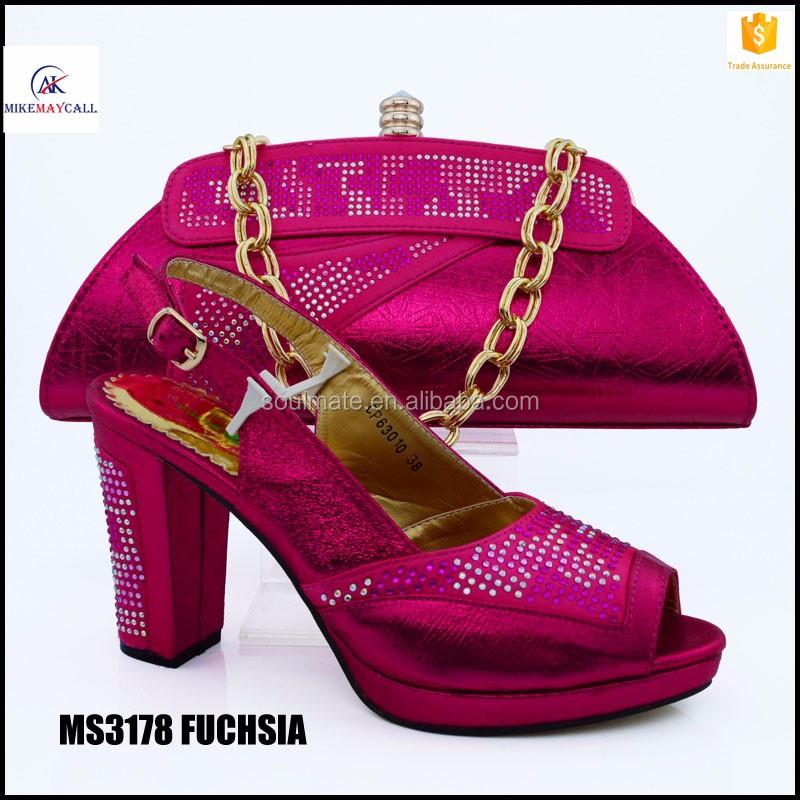Fucsia Rhinestone Decoración últimas Bombas de Zapatos Italianos Con Bolsos  A Juego de Moda conjunto Africano 54e1bcf013cf