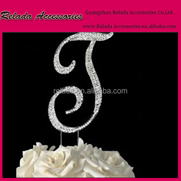 Crystal number monogram cake topper decoration for party