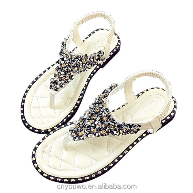 Womens Summer Beach <strong>Sandals</strong> for Girls Boho Style Flats Sandles Rhinestones Straps Travel Shoes Rubber Sole Flip Flop Thongs