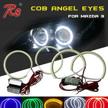 Per <span class=keywords><strong>Mazda</strong></span> 3 COB LED 101mm 112mm Bianco Giallo Blu rosso Verde Viola Rosa Luce Guida LED Angel Eyes Halo anello