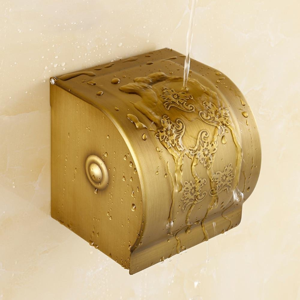 SSBY European antique toilet tissue holder, copper waterproof bathroom tissue boxes, wall open toilet paper holder , new carved paper towel box