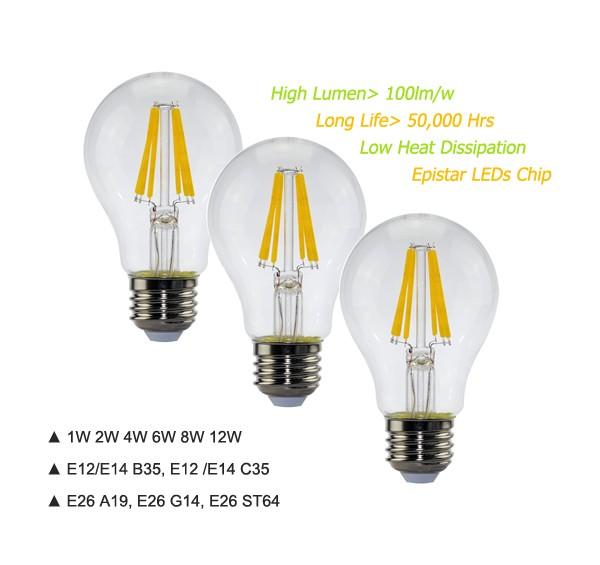 Edison Vintage 110v E26 E27 A19 A60 40w 60w Equivalent: Zhongshan Electric Lighting Led Filament Bulb Dimmable 12v