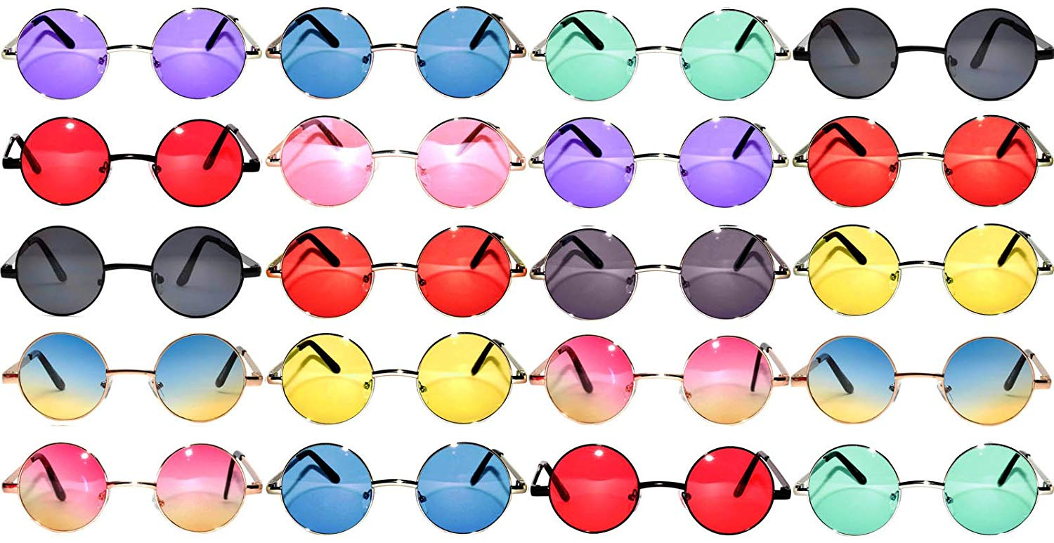 b67dbc5b7e Get Quotations · 20 Pieces Per Case Wholesale Lot Small Round Circle  Sunglasses Retro Vintage Style Colored Metal Frame
