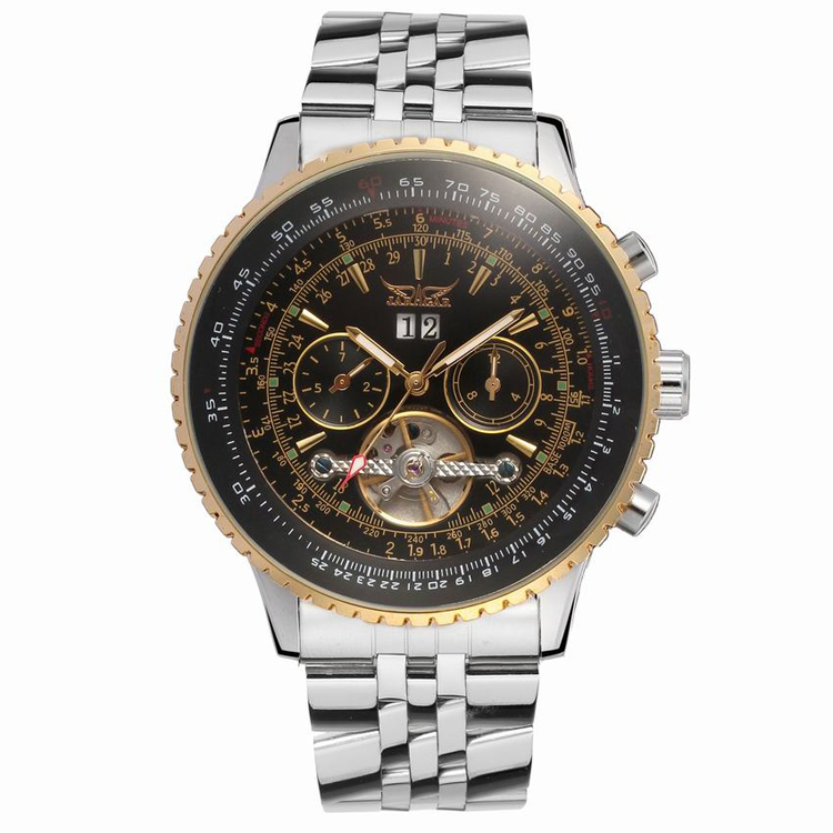 JARAGAR 048 Luxury Mens Jaragar Watches Skeleton Automatic Mechanical Stainless Steel Chronograph Watch фото
