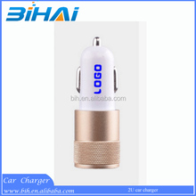 Aluminum head 2.1a dual usb port car charger adapter with led light