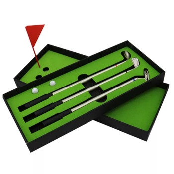 Golf Gifts sets with 3pcs Golf Club Shaped Alloy Ballpoint Pens ,mini flag,mini ball gift set