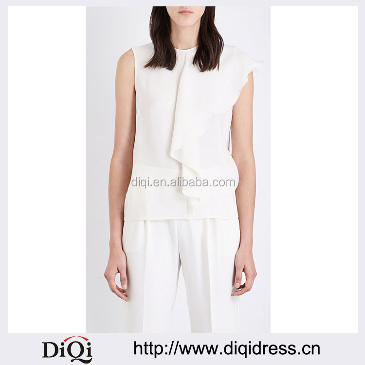 Wholesale Women White Round Neck Sleeves Silk Crepe Blouse(DQE0110T)