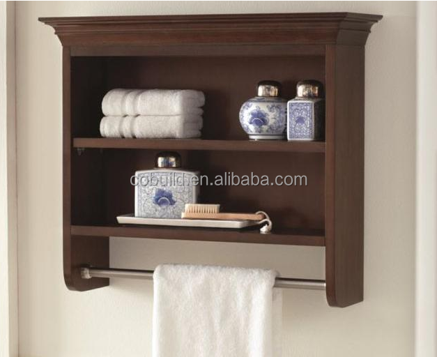 Bathroom 24.5 inch vanity shelf in coffee feature with towel hanger