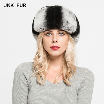 JKK FUR 2018 New Arrival Top Quality Real Rex Rabbit Fur & Sheepskin Leather Hats Fashion Style Caps For Women S7151