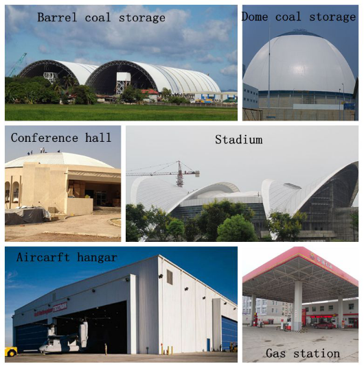 high standard steel space frame for limestone storage domes