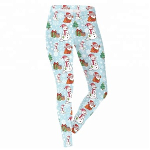 Womens Ugly Santa Funny Costume Floral Christmas Leggings