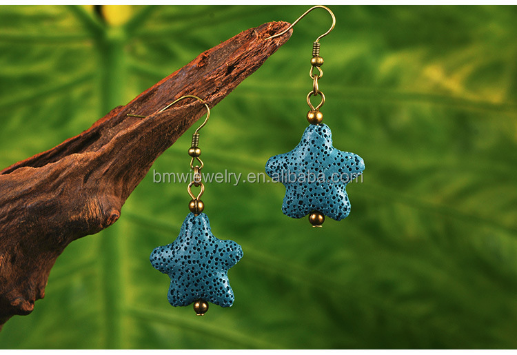 Vulkangestein Lava Stone Act die Rolle verkostet Mode National Wind Star Shaped Drop Ohrringe Damen Accessoires