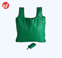 Green low price market foldable recycle polyester folding shopping bag