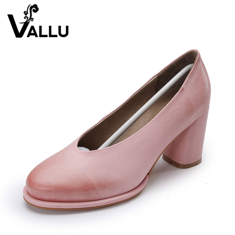 Retro Genuine Leather 2017 Women Dress High Women Heel Shoes Shoes Handmade Pumps r00qA56fw