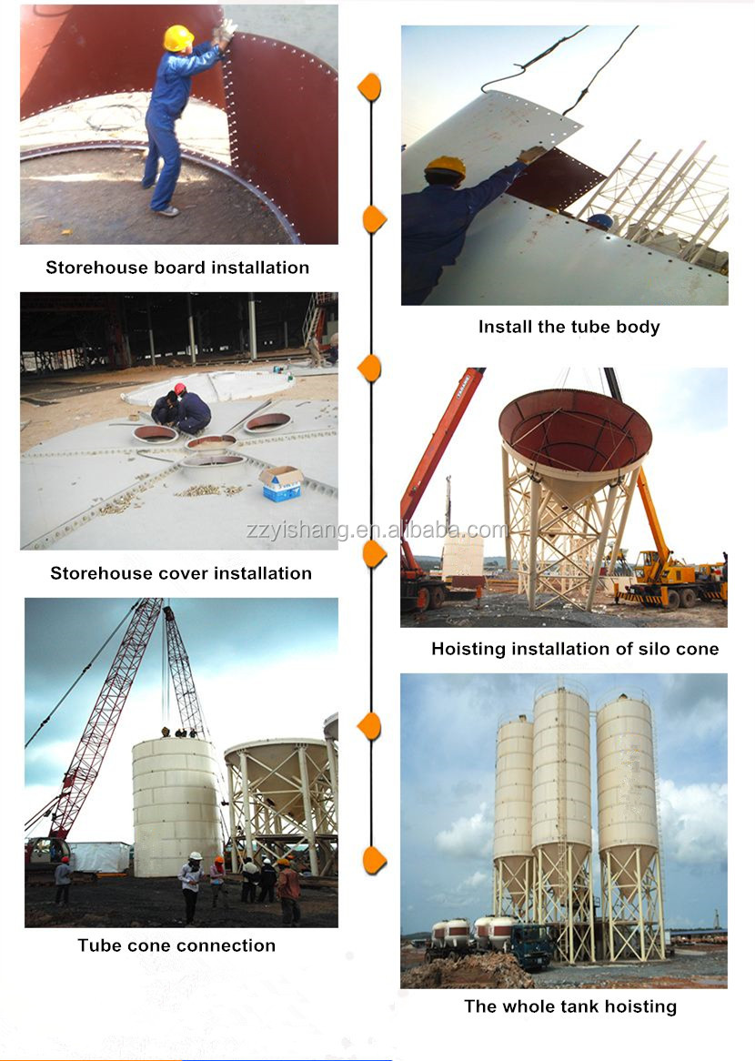 High precision 120 ton cement silo for dry mixed mortar production line container horizontal