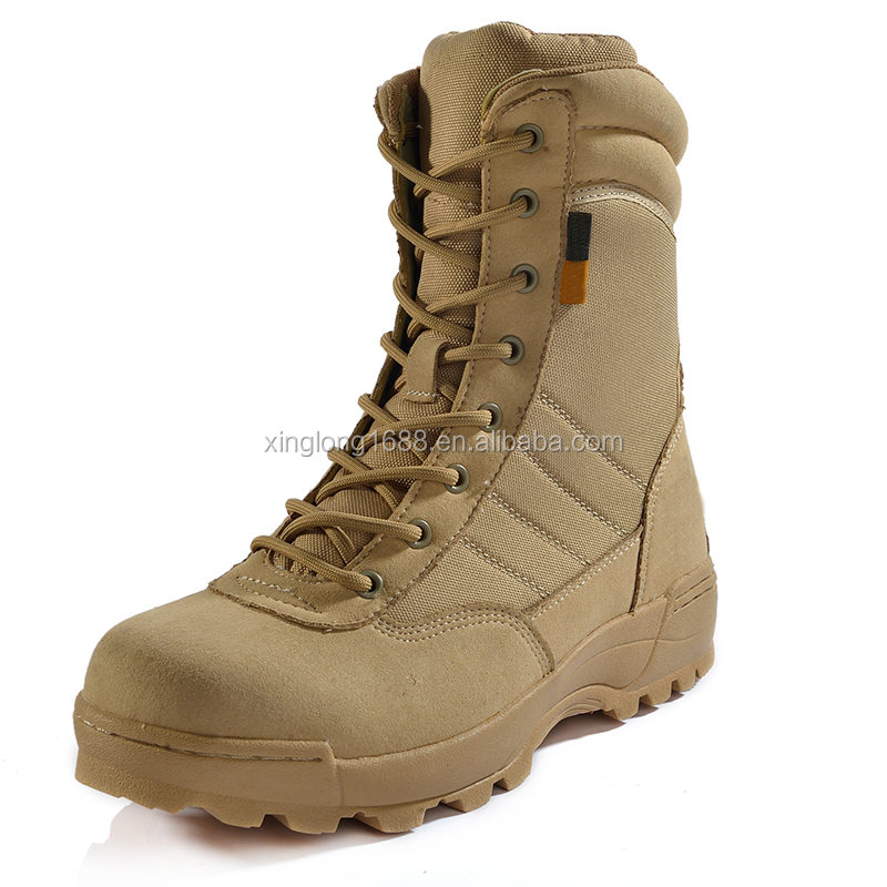 2017 Men Khaki cheap genuine leather Military/Combat boots