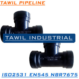 TAWIL ISO2531 EN545 Ductile iron cast fitting cast iron drain pipe fitting ALL SOCKET TEE