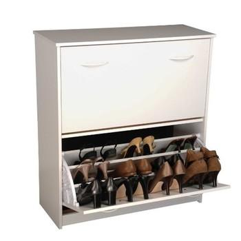 Schoenenkast Voor 24 Paar Schoenen.Meubelen Dubbele Niveau Schoen Gelamineerd Hout Opslag Schoenenkast
