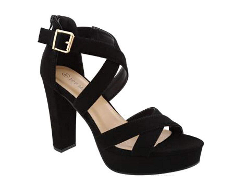 93d8802f57dff Get Quotations · Top Moda Lovely-86 Women s Peep Toe Platform Chunky High  Heel Closed Back Sandals