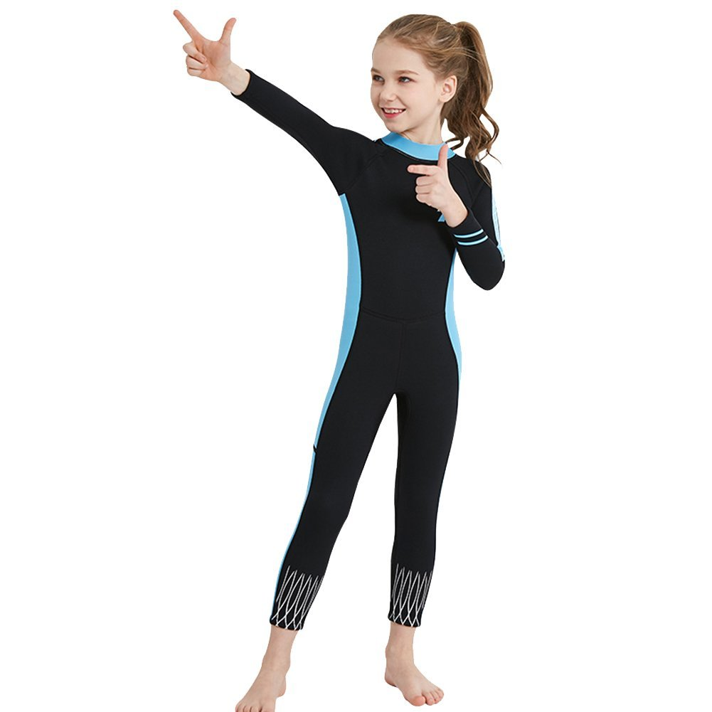 181b28429a8a0 Get Quotations · Seryo Neoprene Wetsuit for Kids Thermal Full Swimwear Long  Sleeve 2.5MM UV Protection One Piece