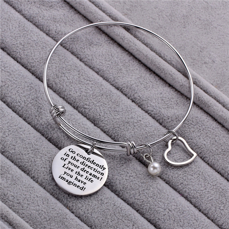 Wholesale simple Heart design titanium steel adjustable bangle bracelet For Couple