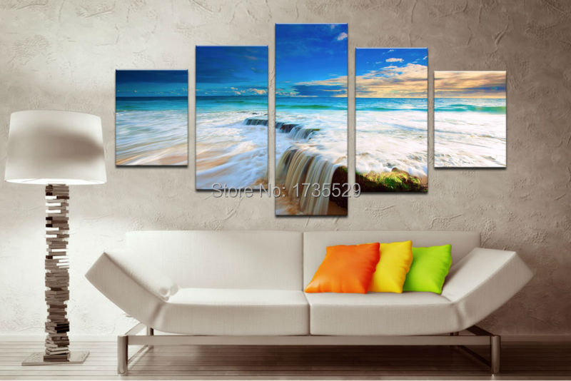 5piece/set Seascape Abstract Seaview Beach High Quality Oil painting On Canvas Home Wall Art Decor For Living Room picture