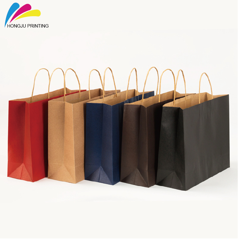 custom design slogan black craft paper bag with your own logo printing