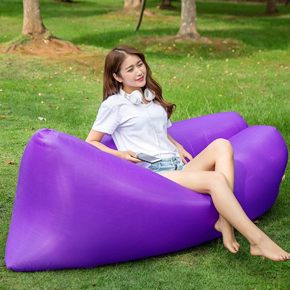 ONETWO Outdoor Portable Lounger Air Sofa,Individual Thicken Cool Skin-friendly Damp-proof Inflatable Lounger Travel Pool