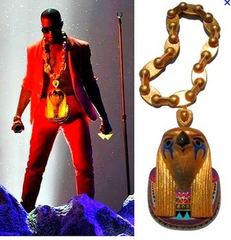 kanye west performed wearing massive pieces of ancient