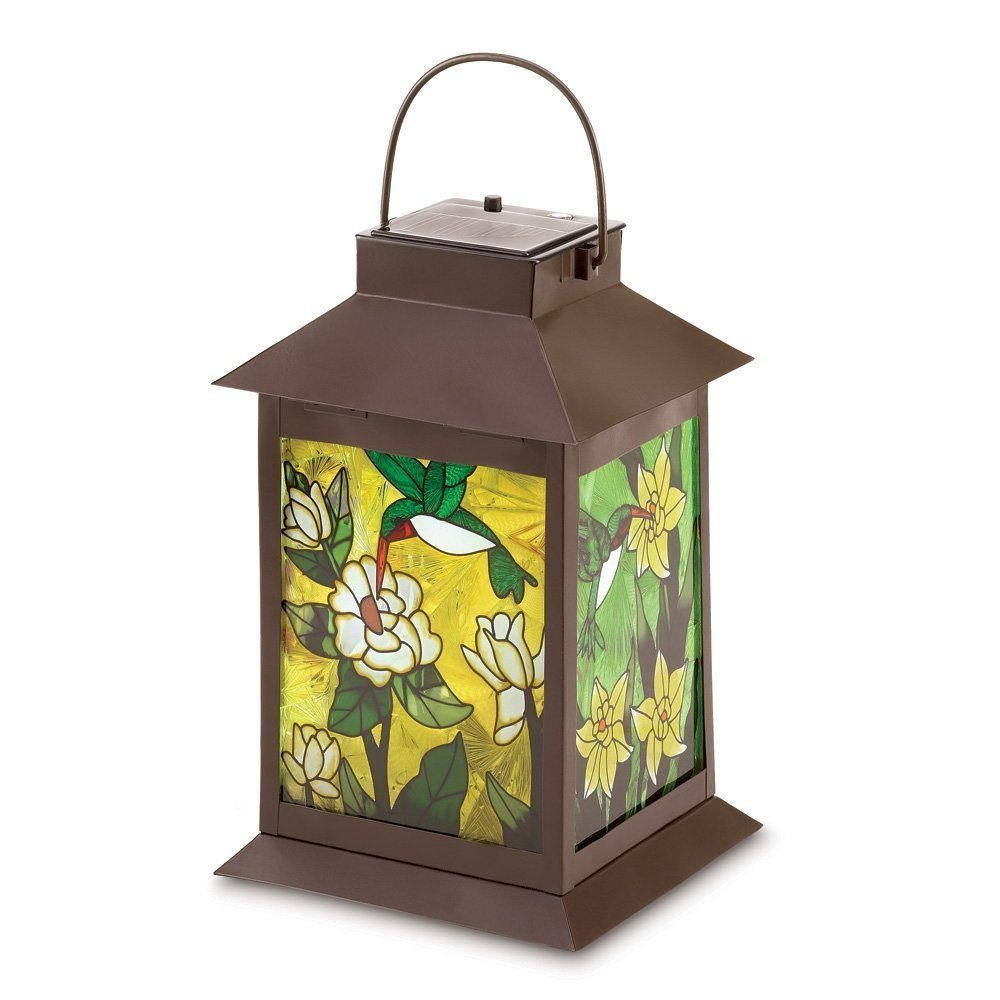 Holovachuk Solar-powered Floral Lantern, Gifts & Decor Stained Glass Light Solar Powered Floral Garden Lantern Solar Powered Floral Lantern Light Garden Stained Glass Lot Lanterns Gifts Outdoor Decor