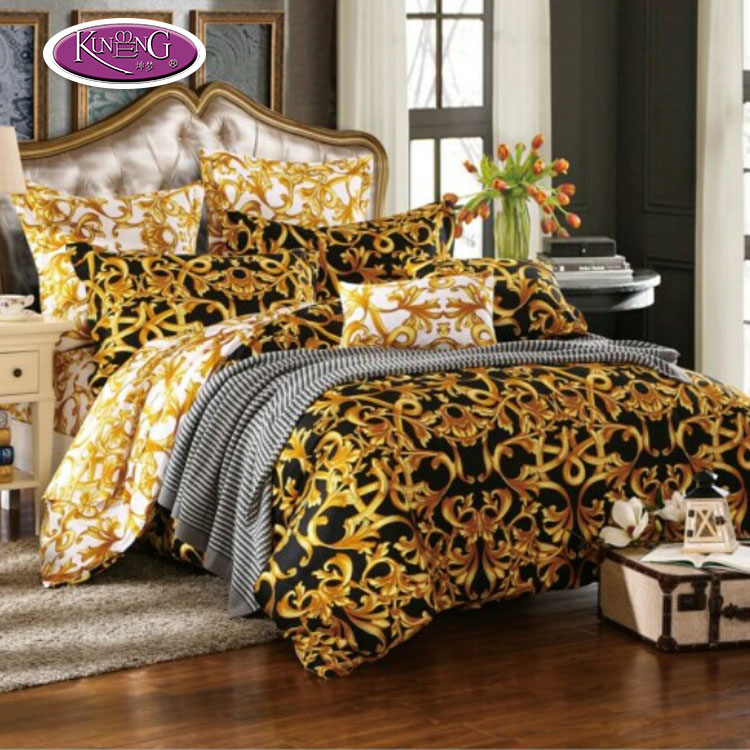 High quality latest designs 100% cotton gold color percale printed bed sheet / bedding set