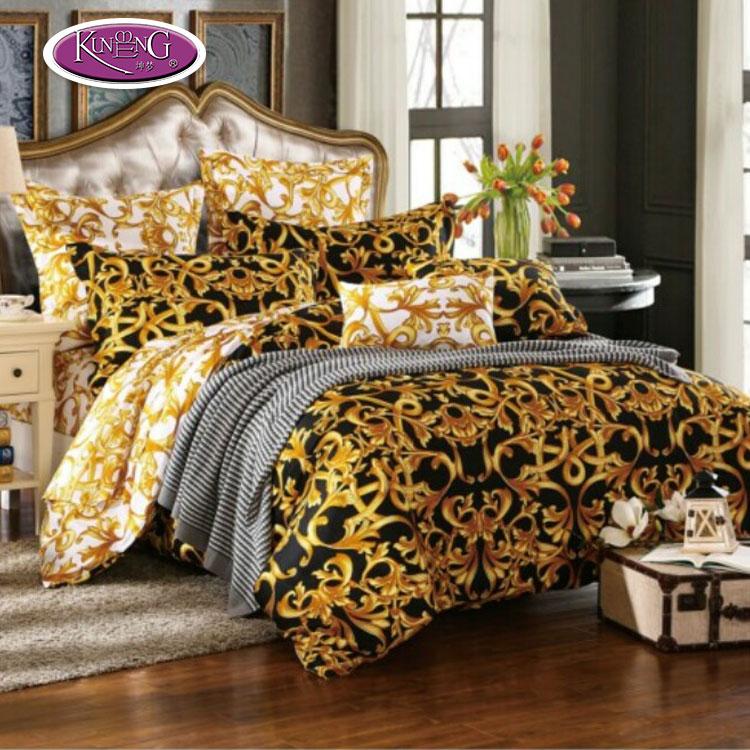 Kualitas tinggi terbaru desain 100% cotton percale warna emas dicetak sprei/seprai set