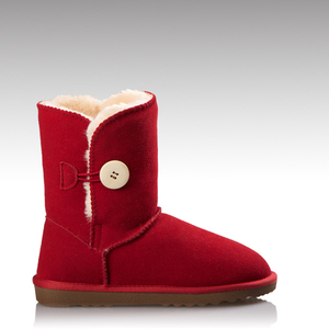 HC-709R cow suede upper faux fur lining non-slip TPR sole half red ladies leather boots with button