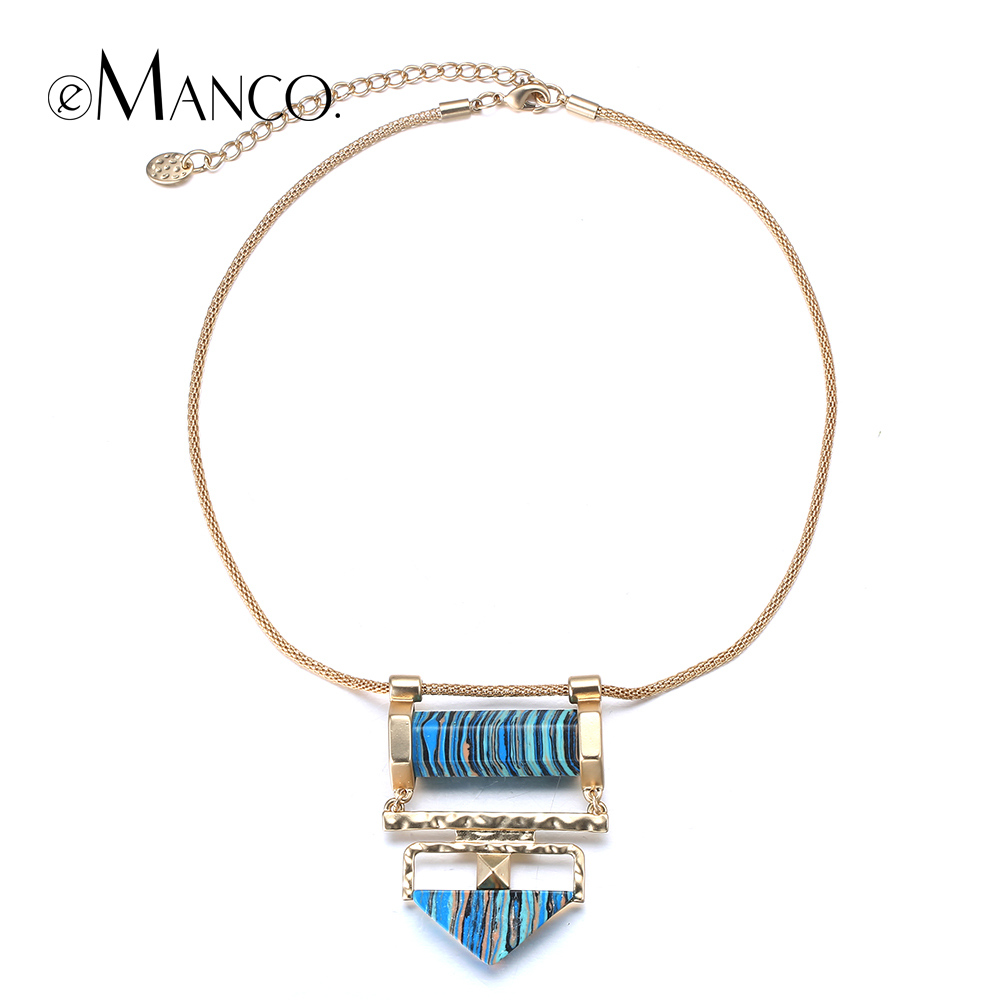 Blue Natural Stone Necklace Choker