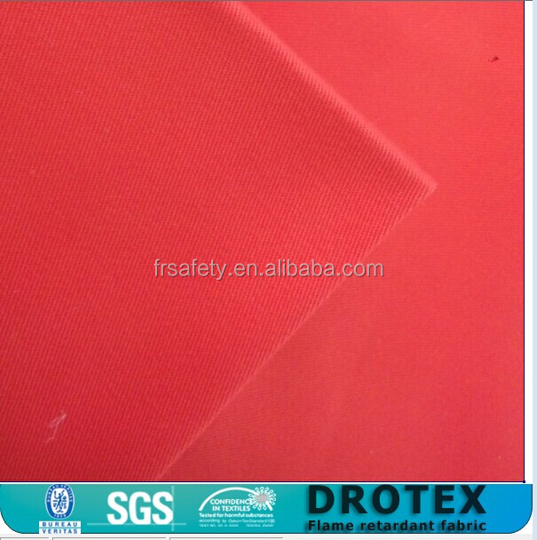 Drotex produce Twill FR 100% cotton fabric Red color fireproof best quality fabric more than 400 N tensle for garments
