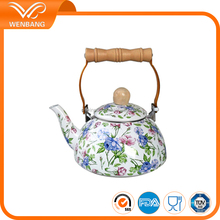 carbon steel cheap porcelain enamel full decal indian teapot
