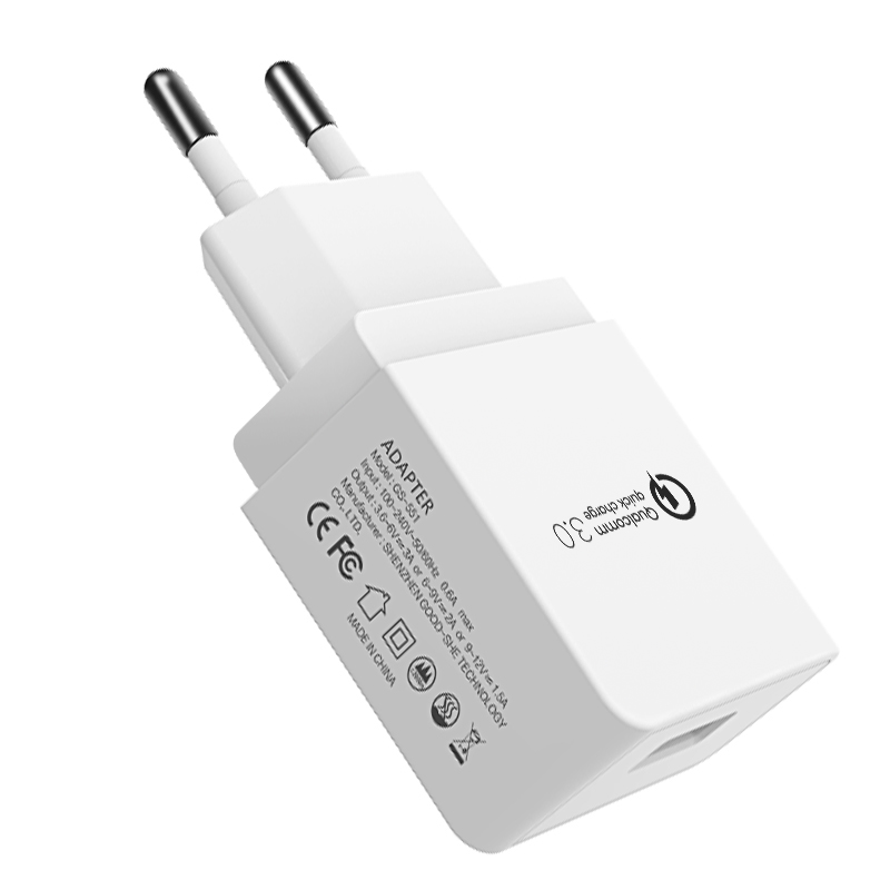 2019 new product hot selling on Amazon fast charger 18W qualcomm certificate USB mobile phone battery charger