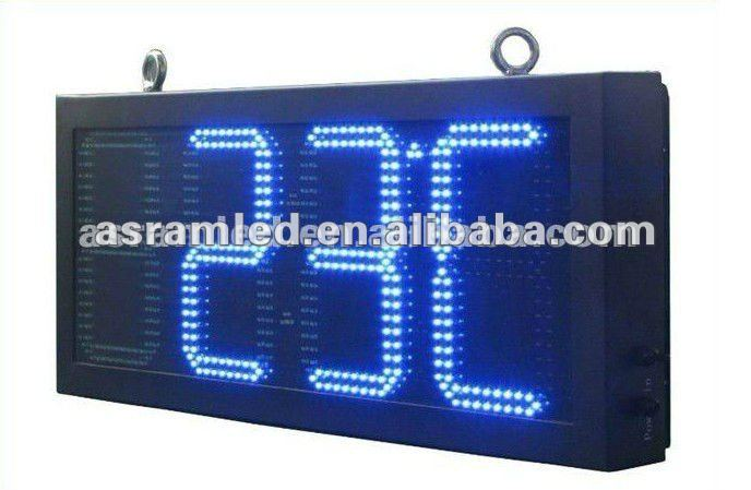 Red tube chip color 7-segment LED time temperature sign