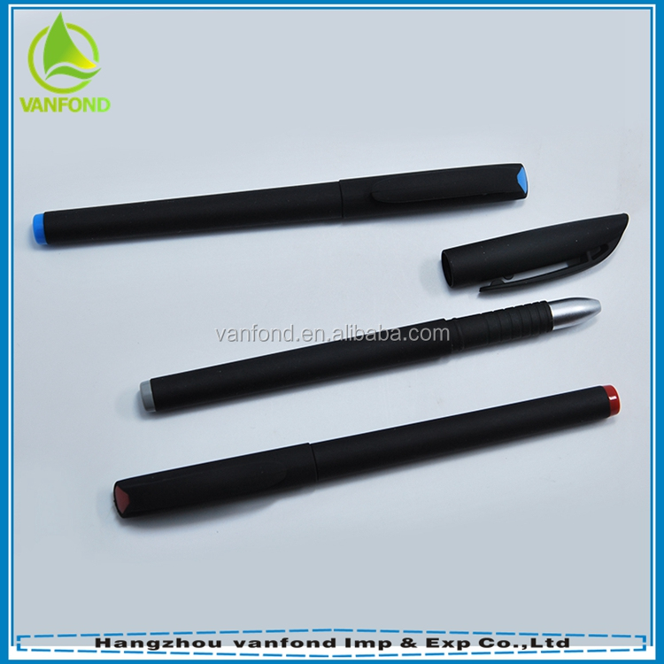 Office stationary plastic gel rubber coated pens with custom refill