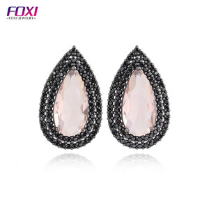 black rhodium drop shaped brazilian style earrings