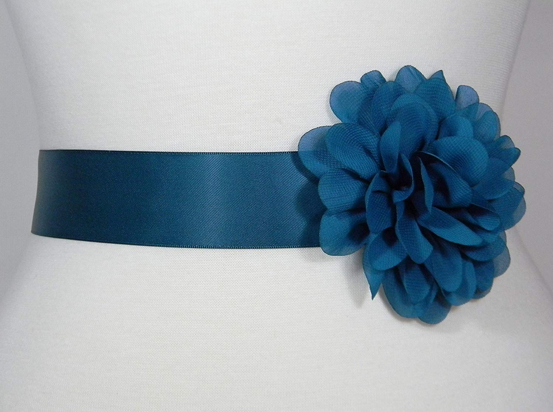 Satin Flower Sash Belt with Layered 3 Flower for Wedding Girls Dress JB288