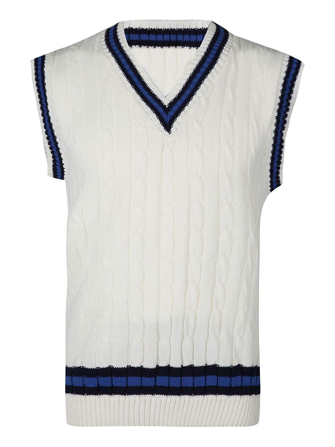 Rimi Hanger Mens Classic Cricket Cable Knitted Tank Top Boys Sleeveless V Neck Ribbed Top S, M, L, XL
