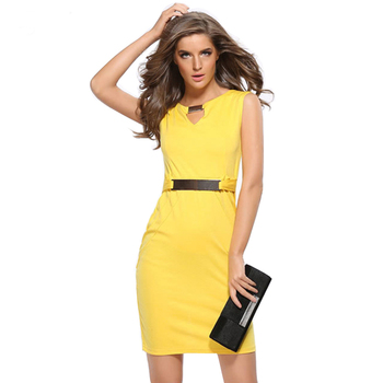 7be6ae25571b6 Office Work Wear Summer Dresses 2017 Party Women Elegant Business Bodycon  Pencil Slim Ladies Sleeveless Plus Size Dress - Buy Long Pencil ...