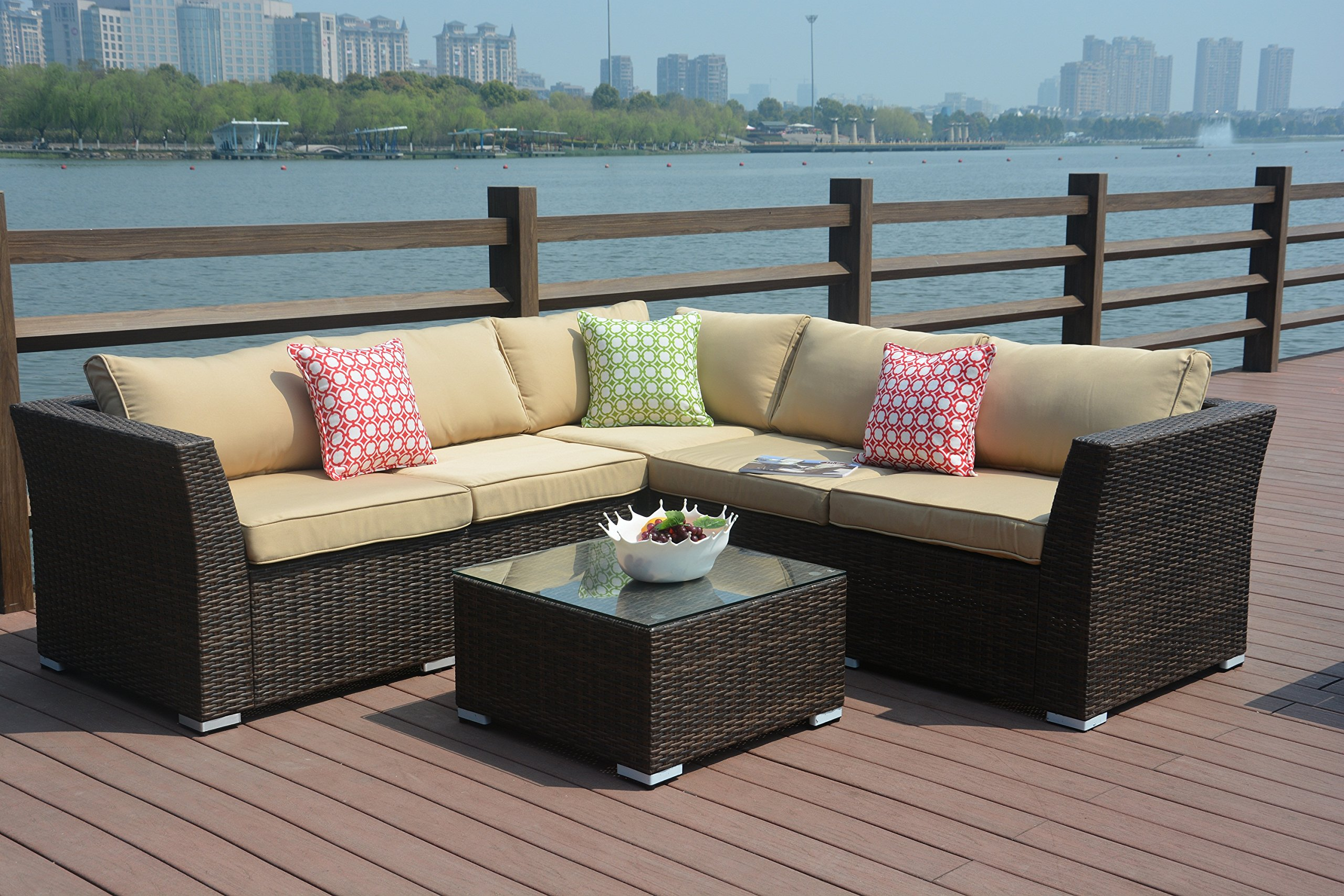 Get Quotations Direct Wicker 4pc Patio Sectional Furniture Pe Rattan Sofa Set Deck Couch Outdoor