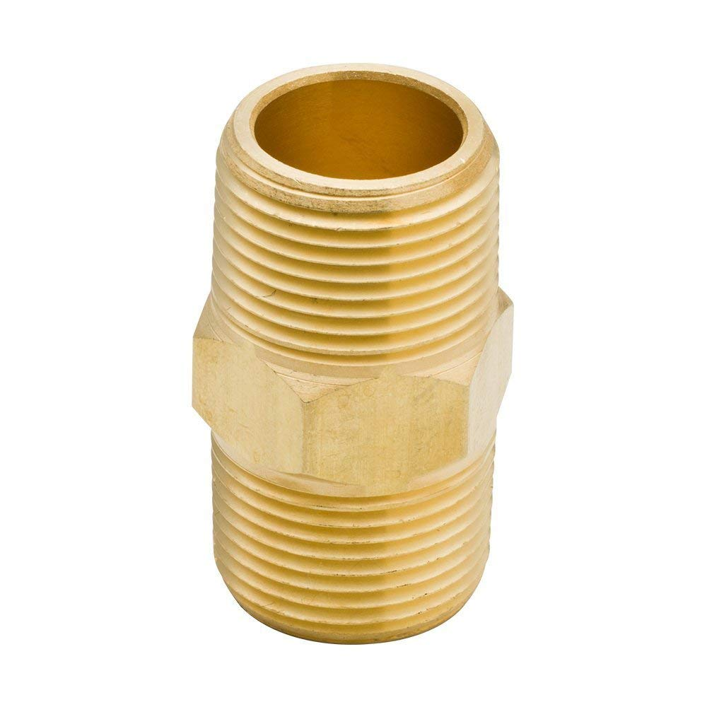 """Solid Brass Pipe Fitting , Hex Nipple, 3/4"""" or 3/8"""" NPT Male to 3/4"""" or 3/8"""" NPT Male, Quick Connector for Water Oil Air Fuel Tube & Hose (Pack of 2) (3/4"""")"""