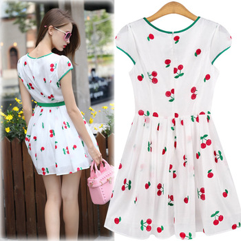 6ba650ebc550c European Fashion Ladies Cherry Embroidered One-piece Organza Dress With  Belt S/M/