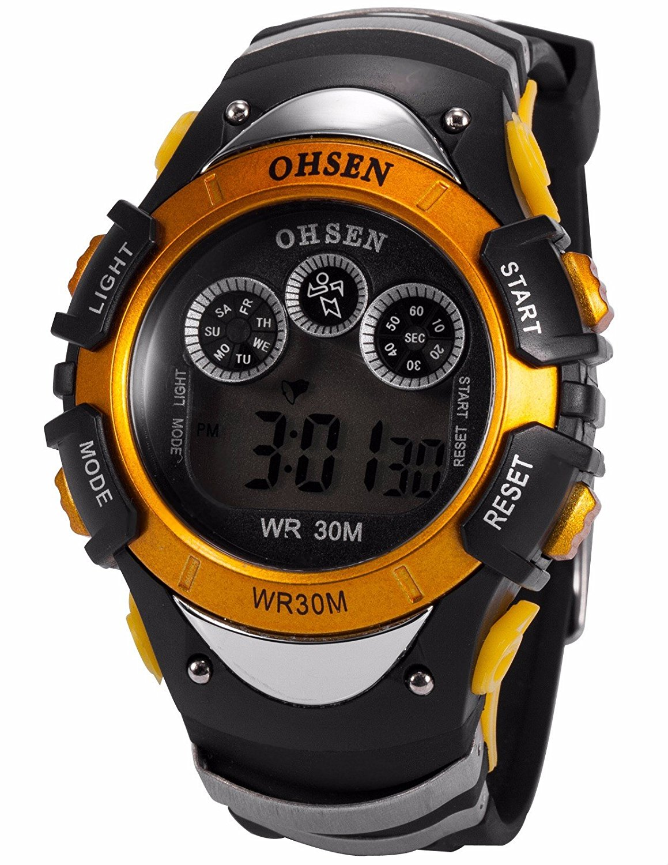 Mix&Rock Mens Black Orange Led Digital Date Day Alarm Sport Rubber Watch with 7 Modes Backlights