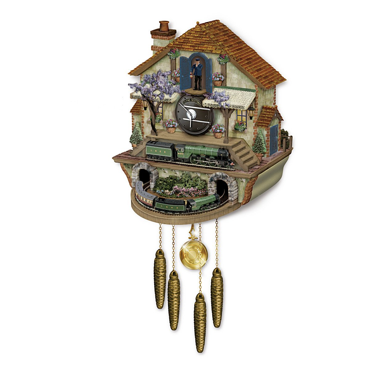 Steam Engine Train Cuckoo Clock: The Flying Scotsman Memories Of Steam by The Bradford Exchange